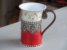 Ceramic Mug, Tea Mug,Handbuilding Techniques, Ceramics and pottery, ceramic cup, Tea cup, Coffee cup, Coffee mug, red mug, handmade mug, cup