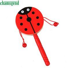 CHAMSGEND Wooden Rattle Pellet Drum Cartoon Musical Instrument Toy for Child Kids Gift S30