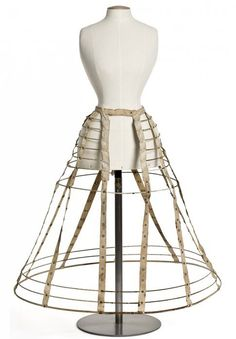 Hoop skirt with steel hoops and linen and cotton braid tapes, by Thomson, American, c. 1862.