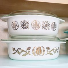 Hex Signs and Golden Tulip Pyrex, Gold on white Pyrex Casseroles, Swoon! ~MWP