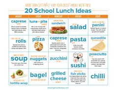 Stuck making the same peanut butter sandwiches for your child's lunches? Click here to see 20 school lunch ideas for kids to vary what your child eats at school every day. Perfect for back to school!