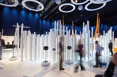 """D'art Design creates an """"Emotional Landscape"""" for Grundig at the IFA 2008 on sqm Shoe Store Design, Retail Store Design, Exhibition Booth, Museum Exhibition, Gropius Bau, Temporary Architecture, Music Museum, Display, Behance"""