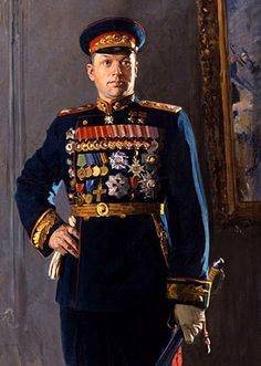 Konstantin Rokossovsky - Soviet and Polish military commander, Marshal of the Soviet Union (1944), Marshal of Poland (1949). Commanded the Victory Parade. One of the greatest generals of World War II. Hero of the Soviet Union. By Konstantin Kitaika 1948 Canvas. Oil. 202x122