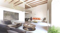 Amplio salón de apartamento, de dos alturas y diseño actual.