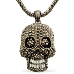 Black, White Austrian Crystal Skull Pendant With Chain 0.020 Ct.