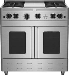 bluestar 36 inch stainless steel gas range with 4 open burners charbroil grill extralarge french door convection broiler continuous cast iron grates