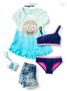 Eye-catching details add awesome to her sunny day outfit. Girls Fashion Clothes, Kids Outfits Girls, Tween Fashion, Girl Fashion, Fashion Outfits, Dance Outfits, Cool Outfits, Summer Outfits, Justice Accessories