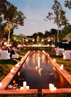 nice idea for the pool area - pool decor Backyard Wedding Pool, Backyard Pool Designs, Outdoor Pool, Kansas, Wedding Reception Backdrop, Wedding Ceremonies, Reception Ideas, Wedding Table, Pool Paint