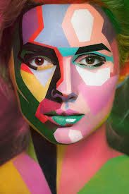 Almost Picasso like make-up, painting in shapes. Could recreate in monochrome version?