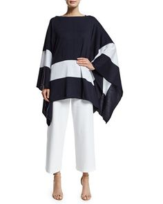 Border+Striped+Poncho,+Scoop-Neck+Cotton+Interlock+Tunic/Tank+&+Wide-Leg+Ankle+Pants,+Women\'s+++by+Joan+Vass+at+Neiman+Marcus.