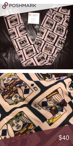 BNWT King-queen diamonds playing cards OS leggings ♠️♣️♥️♦️BRAND NEW OS Lularoe playing card leggings  LuLaRoe Pants Leggings