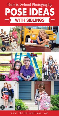 Back-to-School-Photography-Pose-Ideas-with-Siblings.jpg Back-to-School-Photography-Pose-Ideas-with-Siblings. Photography Mini Sessions, Portrait Photography Poses, Portrait Poses, Photo Sessions, Photography Tips, Family Picture Poses, Family Posing, Family Pictures, Senior Pictures