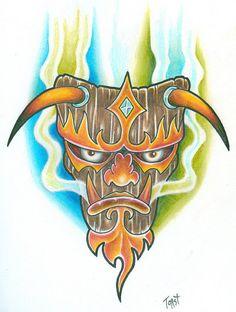 Tattoo flash art by a working professional tattoo artist. Includes matching line stencil. Awesome Tattoos, Cool Tattoos, Ancient Demons, Tiki Faces, Tattoo Templates, Tiki Mask, Mask Tattoo, Vintage Tiki, Tattoo Flash Art