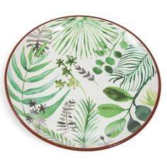 PALMIER round green faience dish with plant motif D 31 cm Watercolor Design, Watercolor Illustration, Floral Watercolor, Watercolour, Pottery Painting, Ceramic Painting, Ceramic Art, Pottery Plates, Ceramic Pottery