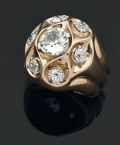 Suzanne Belperron diamond and yellow gold ring.