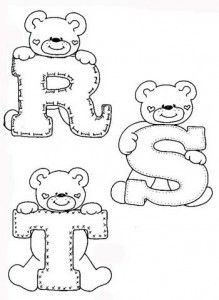 desenhos-alfabeto-ursinhos-enfeite-sala-de-aula-infantil-(5) - alphabet and teddy coloring