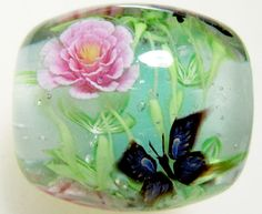 Pink Paeony Flower & Butterly Satake Glass by AyakoGlassGarden
