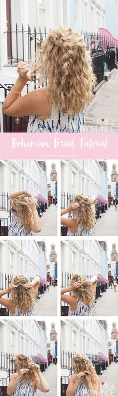 Bohemian braid for curly hair http://www.hairromance.com/2017/08/bohemian-braid-romantic-updo-notting-hill-hairstyles.html