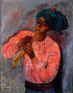 Reuven Rubin-The Flute Player