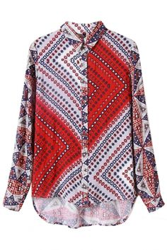 Stylish Floral High-Low Rayon #Blouse - OASAP.com ★ Pair it with a pair of high heel and jeans would create a stylish outfit.