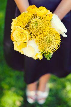 White English Garden Roses, Yellow Freesia, Yellow Craspedia, Yellow Roses + Yellow Pin Cushion Protea