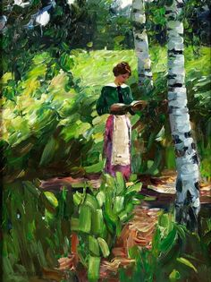 Girl Reading Under Birch Trees on a Hillside. Alexander Köster (German, 1864-1932). Oil on canvas. Köster's work shows a consistent development from a very realistic, detailed account in the 1890s to an ever freer, more generous painting style of the...