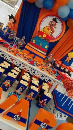 Dragon ball Z birthday theme Goku Birthday, Naruto Birthday, Dragon Birthday Parties, Dragon Party, Baby Birthday, Birthday Party Themes, Naruto Party Ideas, Bolo Naruto, Nerf Party