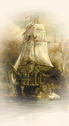Flagship: Nelson's most famous ship, HMS Victory, at the Battle of Trafalgar, painted by W L Wylie