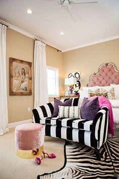 Glam Master Bedroom, Bedroom Black, Home Bedroom, Bedroom Decor, Bedrooms, Halloween Bedroom, Halloween Night, Striped Sofa, Home Decoracion