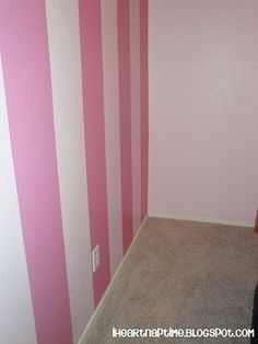 DIY:  How to Paint Stripes on a Wall - tutorial shows how to personalize a room with paint.  This is a great way to give a room a facelift - for very little money - via I Heart Naptime
