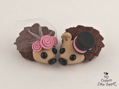 Hedgehog Cake Toppers. These adorable hedgehogs are decked out in rosettes (as shown in the first photo), you can chose your rosette color. If