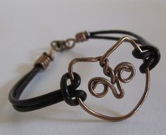wire and leather bracelet