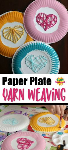 This paper plate yarn weaving activity is perfect as a Valentines craft or any time your kids want to work on early weaving and sewing skills. Yarn Crafts For Kids, Cute Kids Crafts, Winter Crafts For Kids, Art For Kids, Kid Art, Easy Crafts For Toddlers, Spring Crafts, Mothers Day Crafts, Valentine Day Crafts