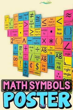 Math Symbols Poster - HUGE Math Classroom Decor This math symbols poster will look BEAUTIFUL in your math classroom or hallway and will help your math students learn and remember new symbols!<br> This math symbols poster will look BEAUTIFUL in your math classroom or hallway and will help your math students learn and remember new symbols! Maths Classroom Displays, Math Classroom Decorations, Classroom Clock, Classroom Posters, Math Charts, Math Anchor Charts, Math Posters Middle School, Teacher Resources, School Resources
