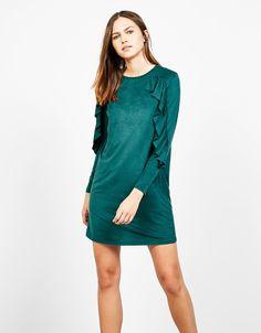 Sukienka z imitacji zamszu z falbanami - Sukienki - Bershka Poland