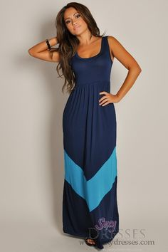 Cute Sleeveless Navy Empire Waist Maxi Dress