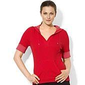 Lauren Ralph Lauren Plus Size Sweatshirt, Short-Sleeve Striped-Trim Hoodie