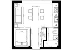 Фотография: Планировки в стиле , Лофт, Малогабаритная квартира, Квартира, Дома и квартиры, Надя Зотова, дизайн маленькой квартиры, дизайн студии – фото на InMyRoom.ru
