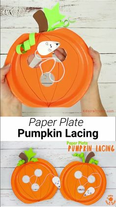 This Paper Plate Pumpkin Lacing Craft is loads of fun The cheeky mouse has nibbled holes in the pumpkin Now kids can have lots of fun threading him through the holes building their fine motor skills An adorable interactive paper plate pumpkin craft for Fall Crafts For Toddlers, Toddler Crafts, Diy Crafts For Kids, Fun Crafts, Kids Diy, Decor Crafts, Toddler Preschool, Stick Crafts, Resin Crafts