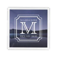 #createyourown #customize - #Handsome Monogram Beautiful Landscape Photo Simple Acrylic Tray