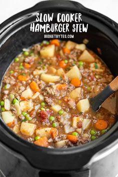 Slow Cooker Hamburger Soup, Crockpot Recipes With Hamburger, Slow Cooker Chilli, Slow Cooker Ground Beef, Slow Cooker Casserole, Best Slow Cooker, Crockpot Meals, Beef Recipes, Soup Recipes