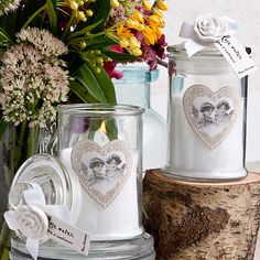 Rose Ancienne Collection Apothecary jar candle favors