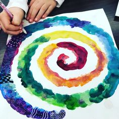 Adding pattern and texture to our spirals. This will take another class to complete. grade watercolor with gel pens. The source of… Flower Illustrations, Classe D'art, 5th Grade Art, Cool Art Projects, Texture Art Projects, Ecole Art, Kindergarten Art, Art Lessons Elementary, Middle School Art