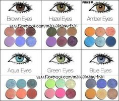 Make-up; eye shadow colors for brown eyes, hazel eyes, amber eyes, aqua eyes, green eyes and blue eyes · EyeshadowsMakeup Tips ...