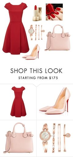 """#red #beauty"" by sandra-mujkic ❤ liked on Polyvore featuring Phase Eight, Christian Louboutin, Burberry and Anne Klein"