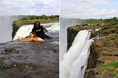 On the Zambian side of the Victoria Falls, next to Livingstone Island, you'll find Africa's most dangerous infinity pool - the Devil's Pool. Victoria Falls, Niagara Falls, Devil, Africa, Swimming, Island, Nature, Travel, Swim