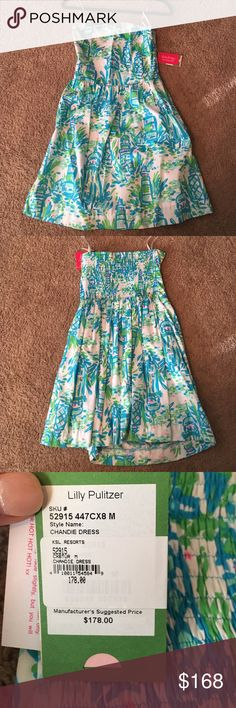 NWT strapless Lilly Pulitzer dress This NWT blue and green Lilly Pulitzer dress is super cute with pops of pink. Never worn size M and super flattering when on! Lilly Pulitzer Dresses Strapless