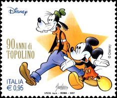 Mickey Mouse and Pippo Moma, Mickey Mouse Pictures, Illusion Paintings, Historia Universal, Going Postal, Disney And More, Mickey And Friends, Stamp Collecting, Postage Stamps