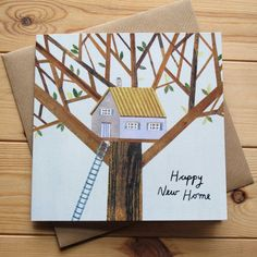 HAPPY NEW HOME Greeting Card by Lianne Harrison for Paperwhale Cards - www.lianneillustrates.etsy.com