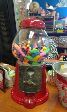 How's this for fun? Keep your eyes peeled for an affordable gumball machine for erasers. It's a useful way to get your students involved, albeit not as tasty.